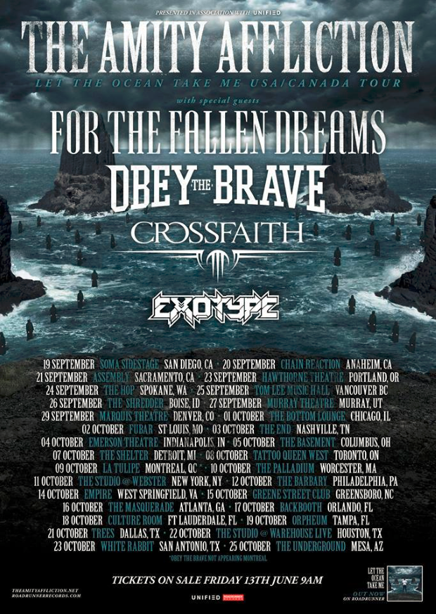 Obey The Brave & Crossfaith Join The Amity Affliction North American Tour